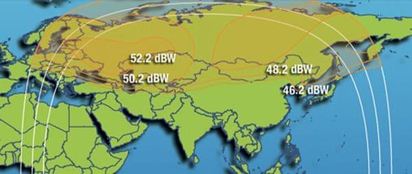 Зоны покрытия Intelsat 15 Ku-band Russia Beam